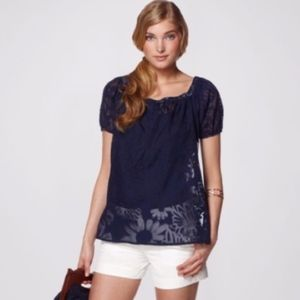 Lilly Pulitzer Beverly Top Navy Sheer Sz Small